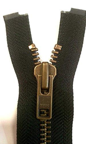YKK Reißverschluss starker 8 mm 1 Weg teilbar schwarz 70 cm Metall Metallzähne