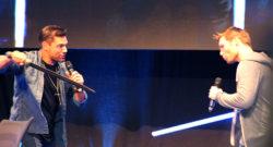 Liam McIntyre (Spartacus / The Flash) und Manu Bennett (Spartacus / Arrow / The Shannara Chronicles) im Panel / Comic Con Germany 2016 Stuttgart
